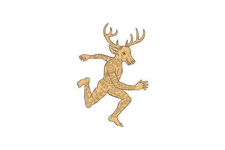 Half Man Half Deer With Tattoos Running example image 1