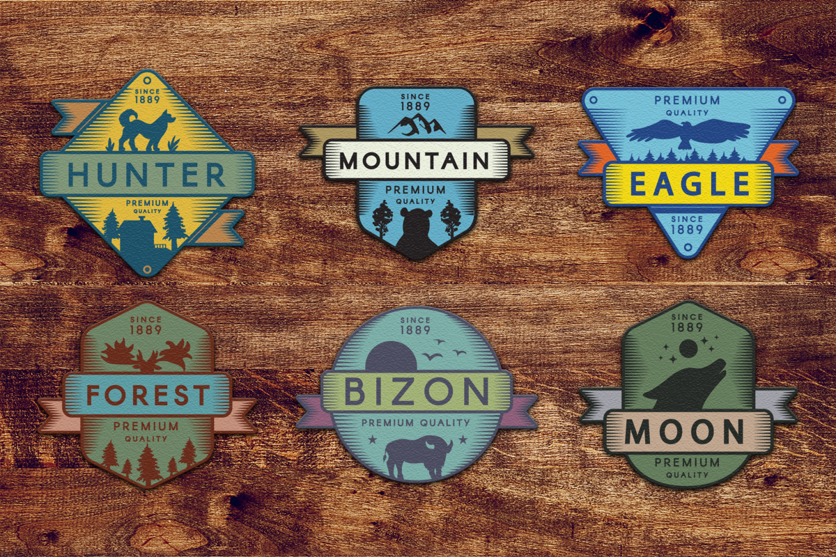 Vintage Colored Adventure Badges Pack example image 1
