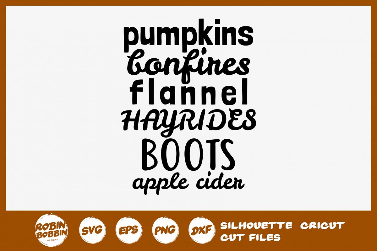 Pumpkin Bonfires Flannel Hayrides SVG - Fall Farmhouse SVG example image 1
