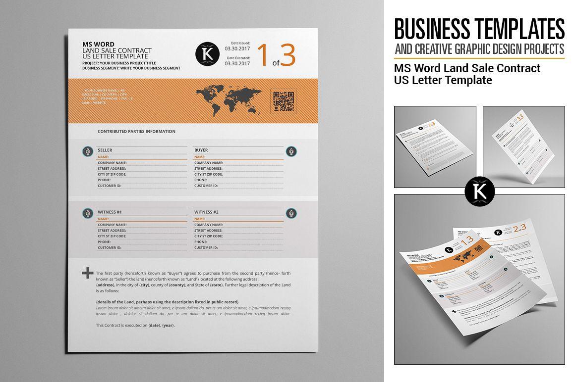 MS Word Land Sale Contract US Letter Te | Design Bundles