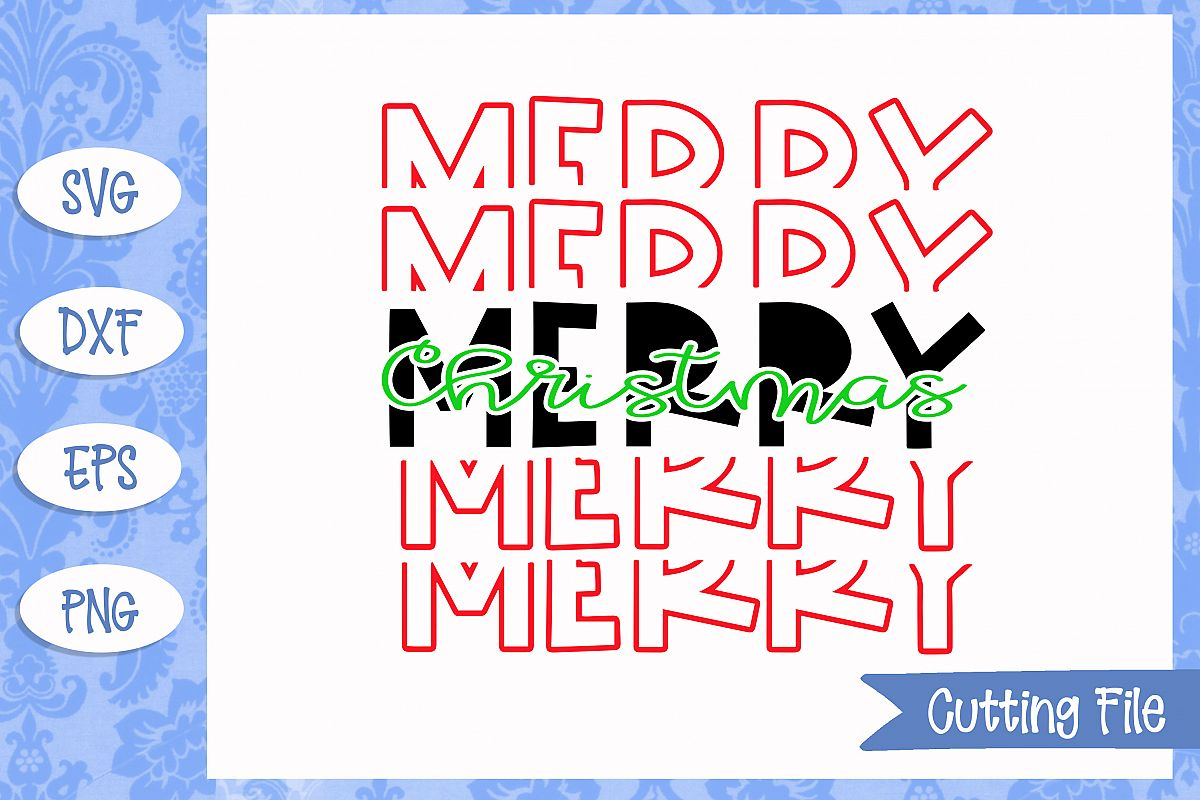 Merry Christmas stacked SVG File example image 1