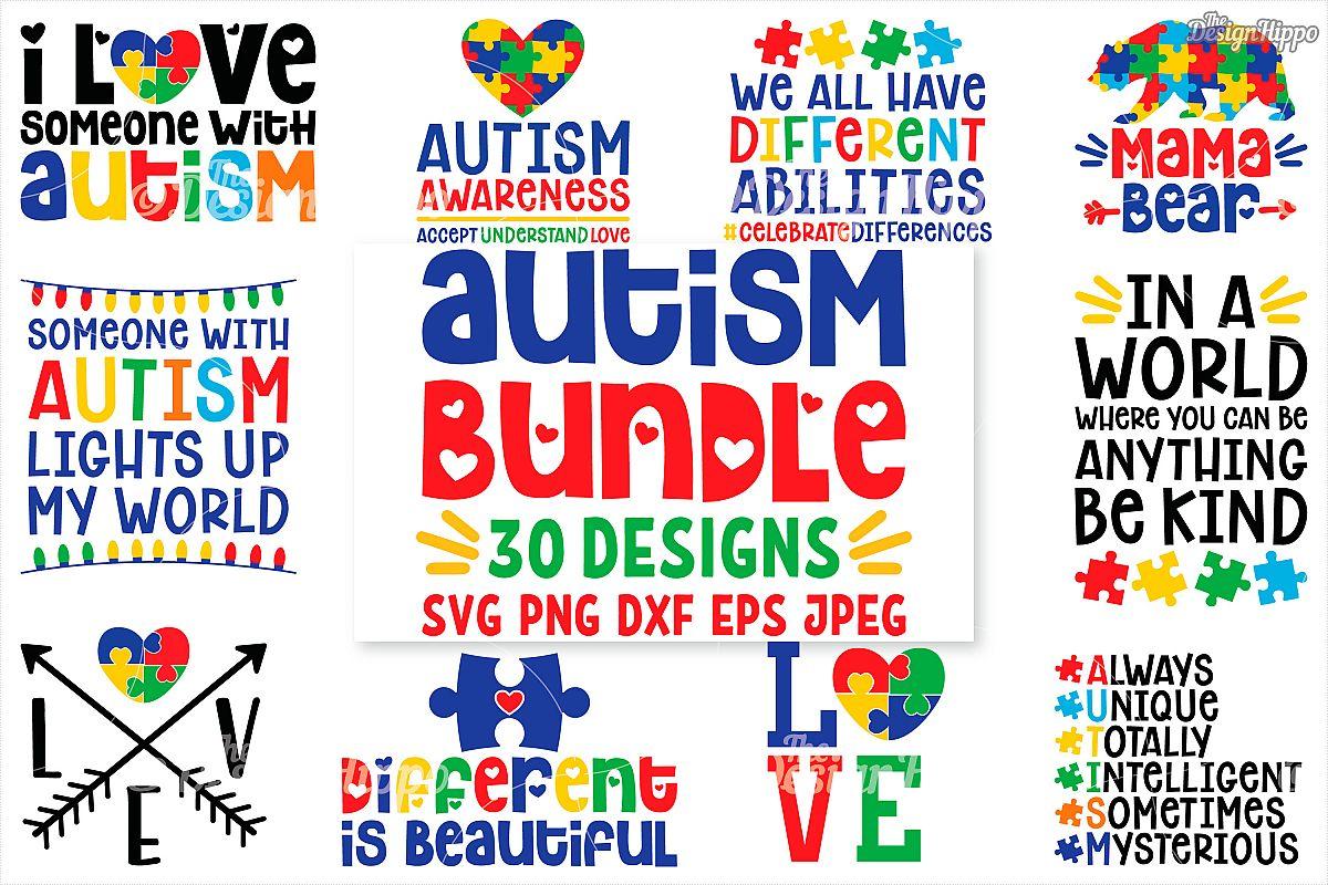 Autism SVG Bundle, 30 Designs, DXF PNG Cricut Cutting Files Free Download