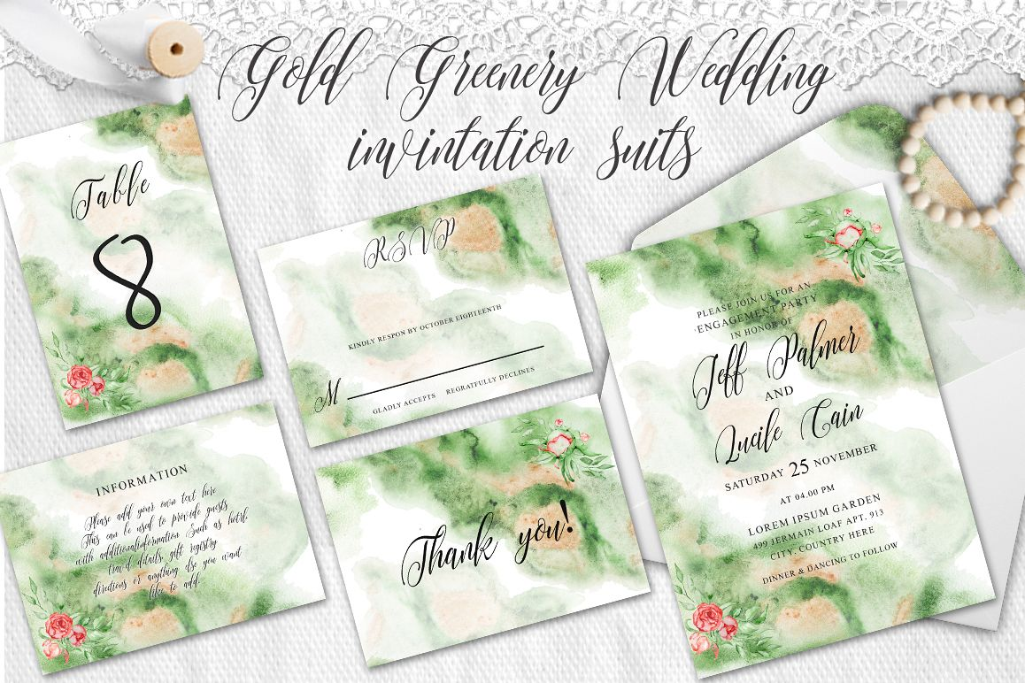Gold Greenery floral Watercolor Wedding Invitation suite example image 1