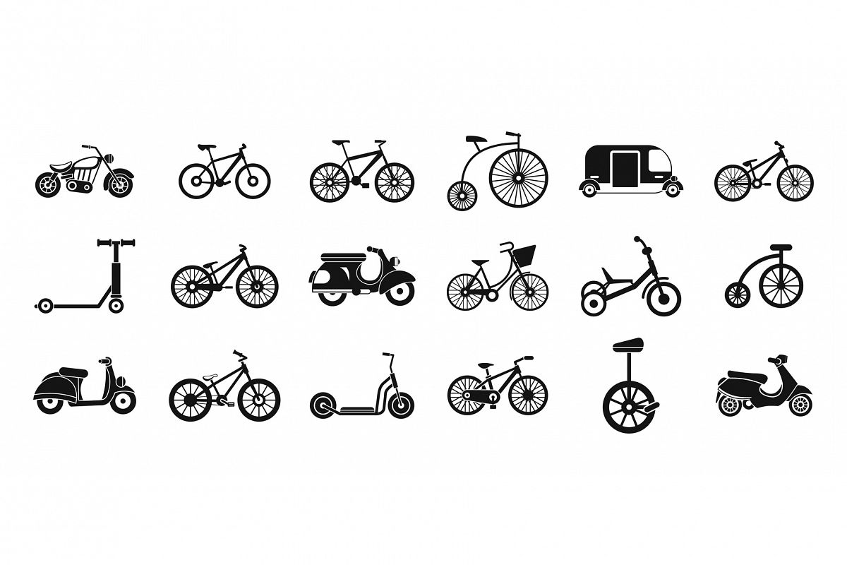 Bike icon set, simple style example image 1