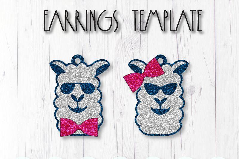 Lama earrings template SVG, DIY earrings template example image 1