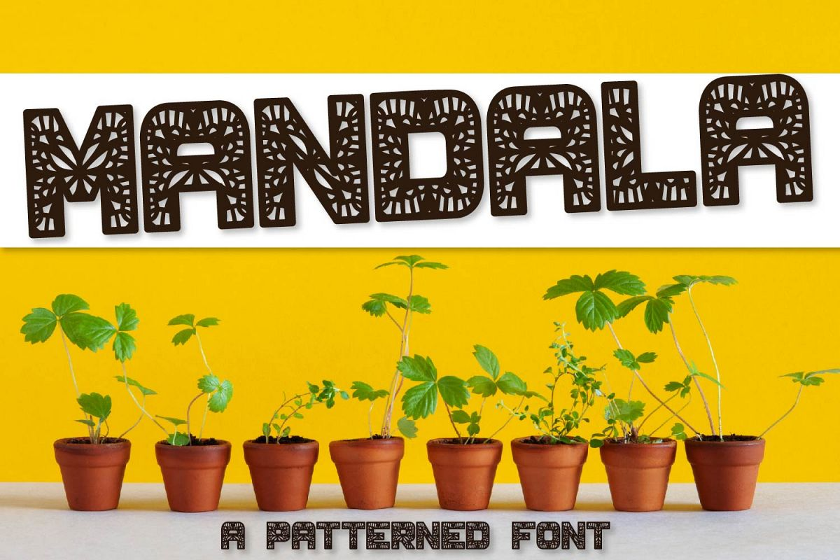 Mandala - A Fun Patterned Font - Perfect for Monograms example image 1