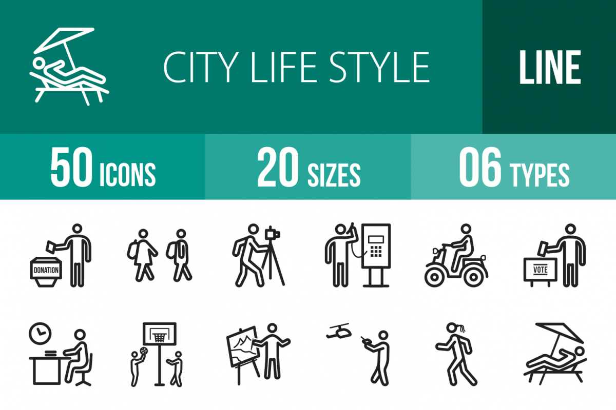 50 City Lifestyle Line Icons example image 1