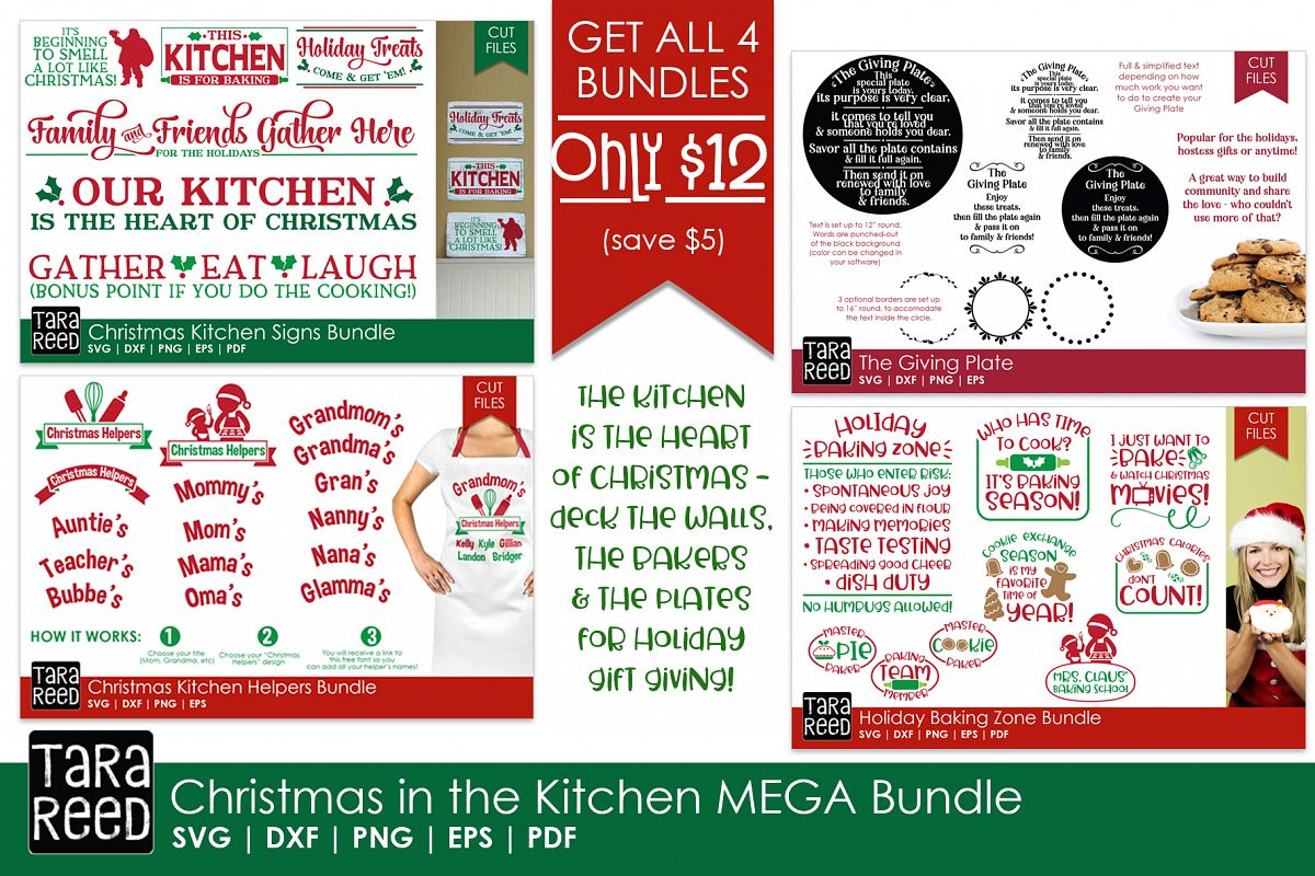 Christmas in the Kitchen MEGA Bundle - Crafter SVG Files example image 1