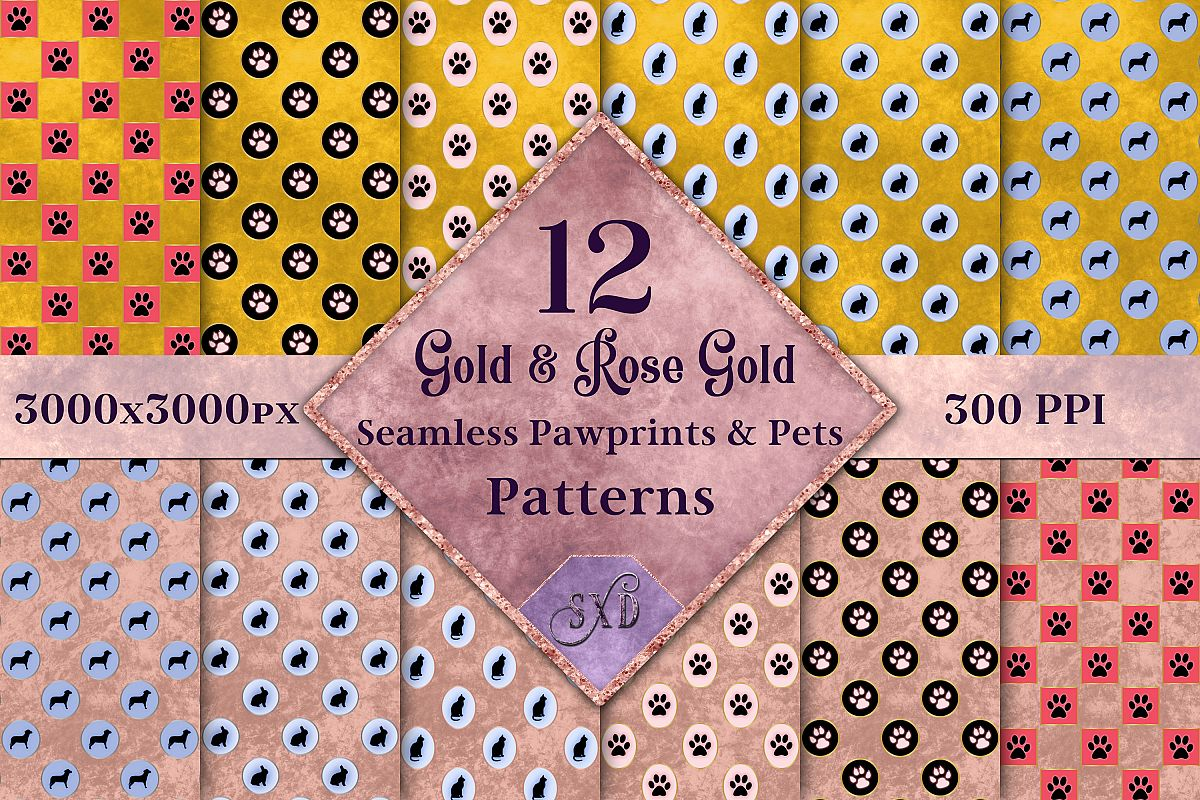 Gold & Rose Gold Seamless Pawprints & Pets Patterns example image 1