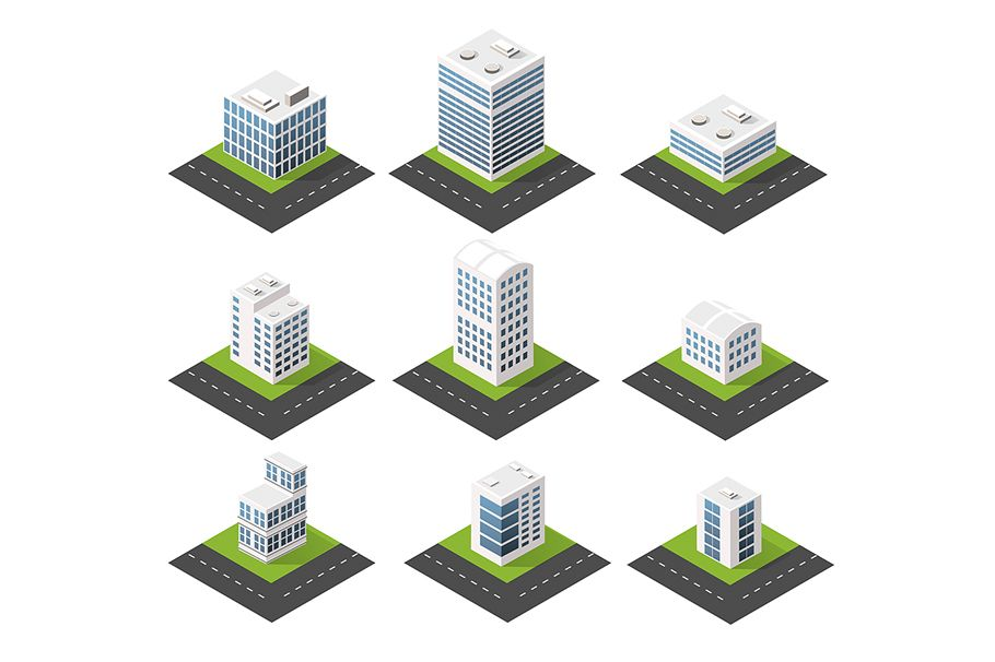 Urban isometric icons for the web with houses and streets example image 1