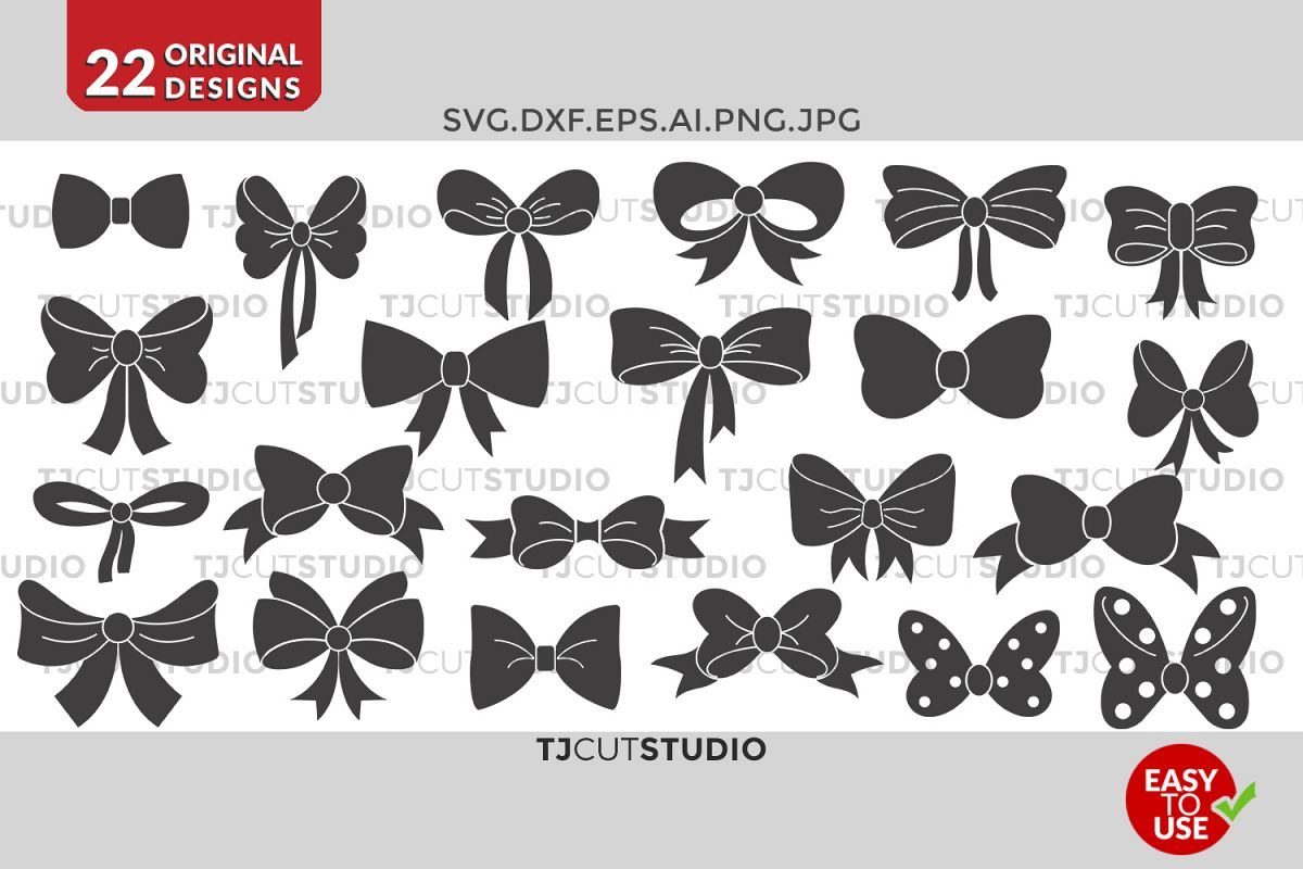 Bow svg collection, Files for Silhouette Cameo or Cricut, Commercial & Personal Use. example image 1
