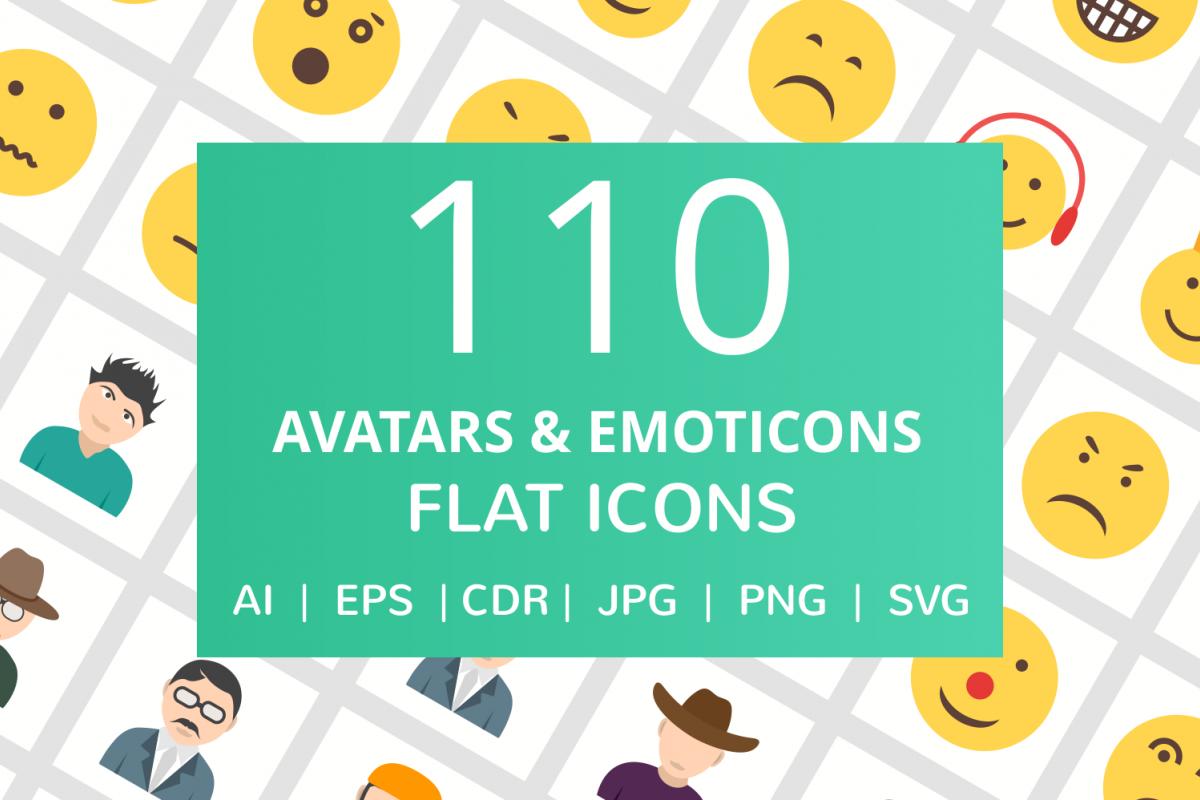 110 Avatars & Emoticons Flat Icons example image 1