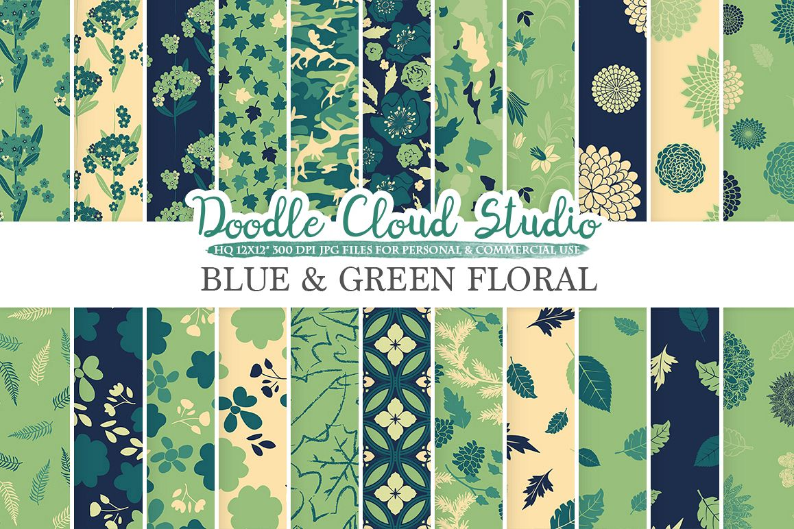 Blue and Green Floral digital paper, Floral pattern Flowers Dhalia Leaves Damask Calico Cream background for Personal & Commercial Use example image 1