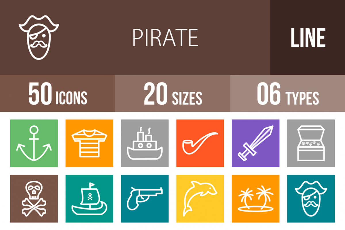 50 Pirate Line Multicolor B/G Icons example image 1