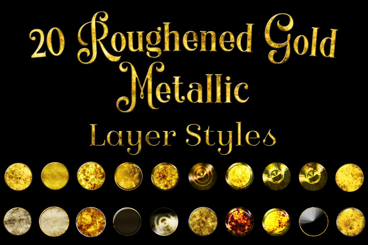20 Roughened Gold Metallic Layer Styles for Photoshop example image 1