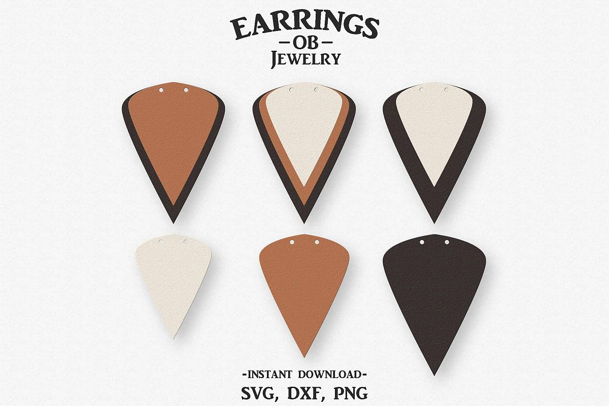Double Hole Earring Svg, Teardrop, Leaf, Stacked, Cut File example image 1