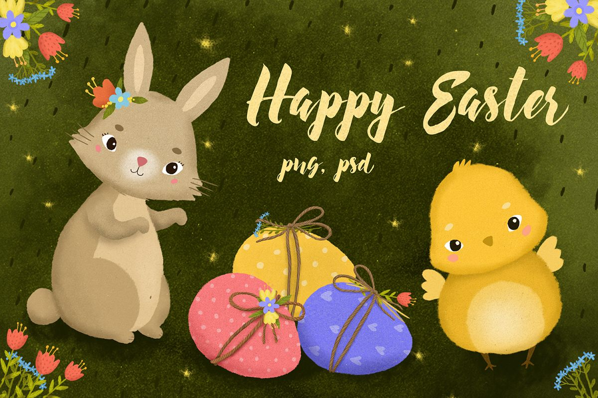 Happy Easter set. Hare eggs chick example image 1