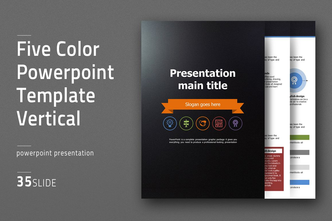 Five Color Powerpoint Template Vertical example image 1