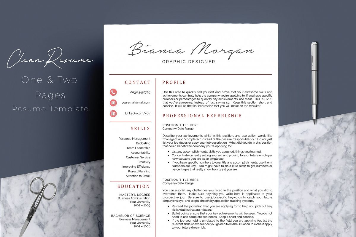Creative Word Resume Template CV Example Image 1