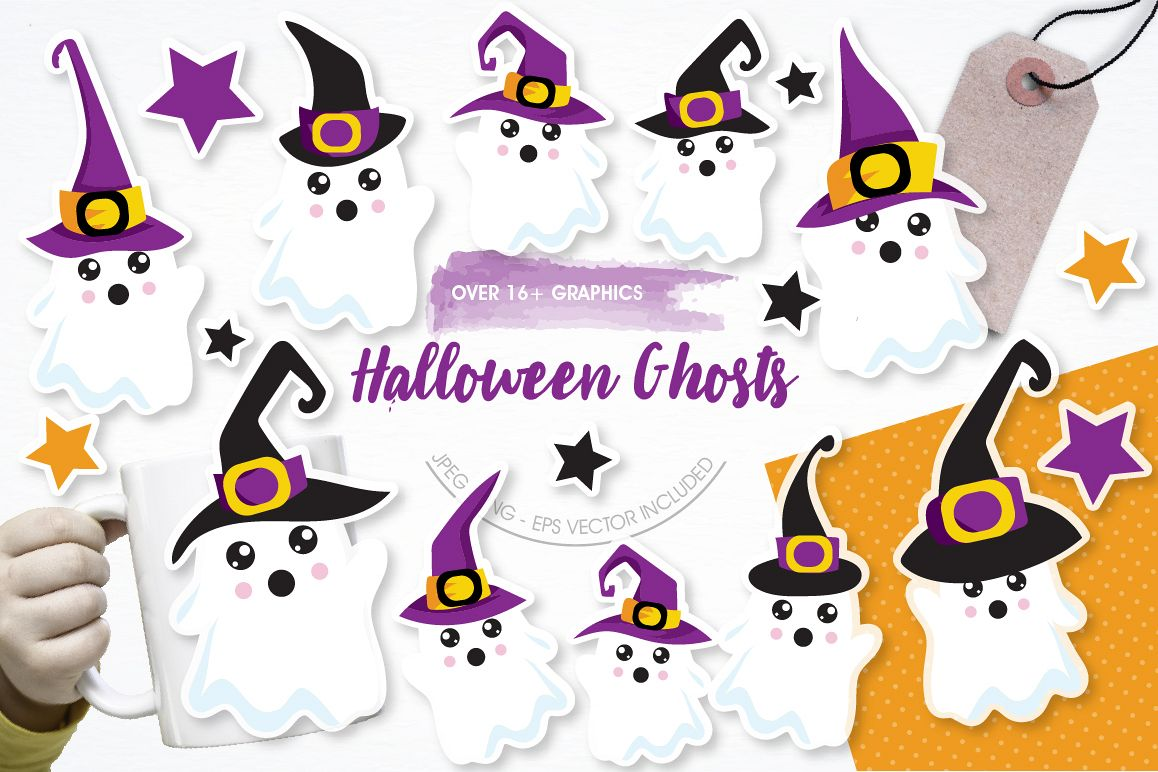 Halloween Ghosts graphics and illustrations example image 1