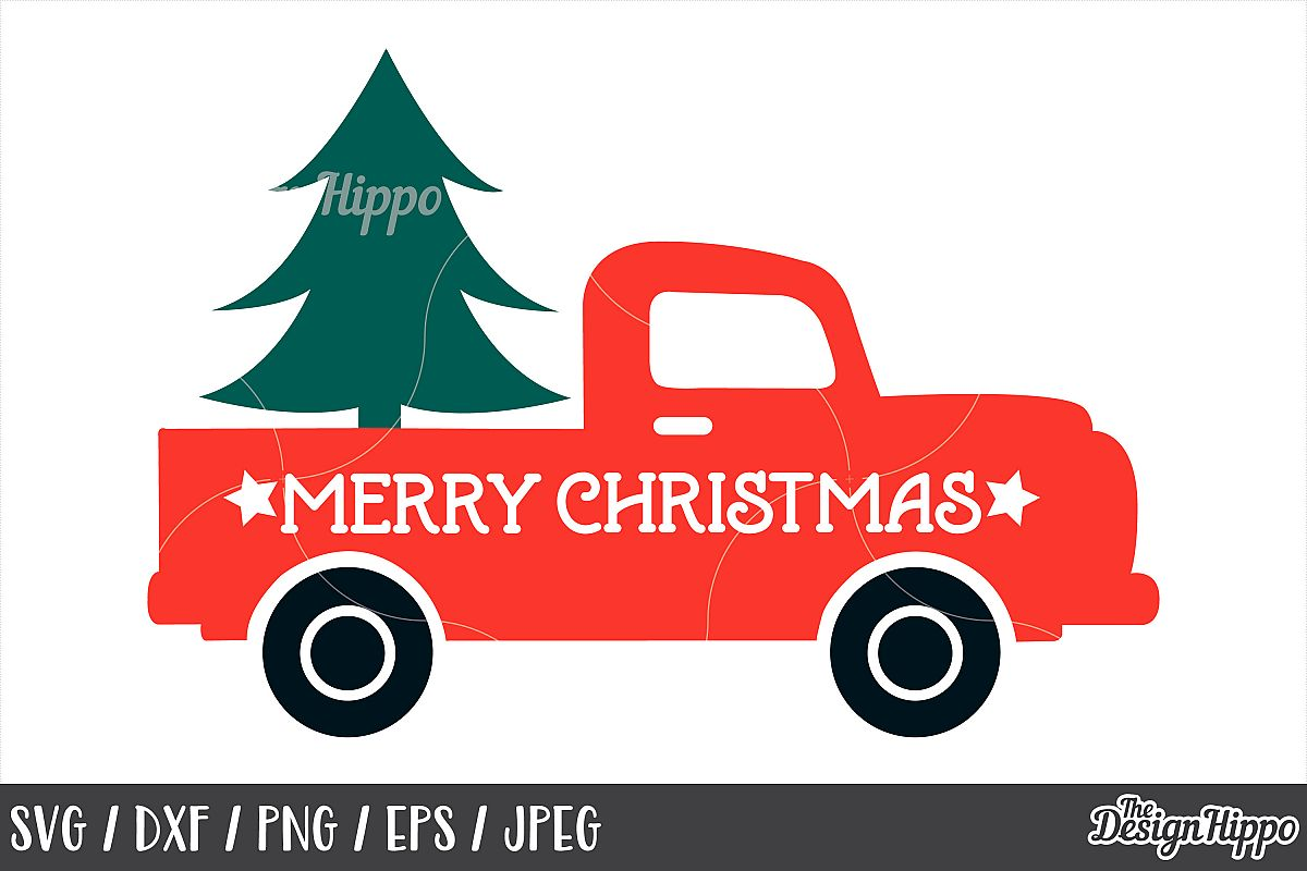 Merry Christmas Truck SVG, Tree, DXF, PNG, Cut Files, Cricut example image 1