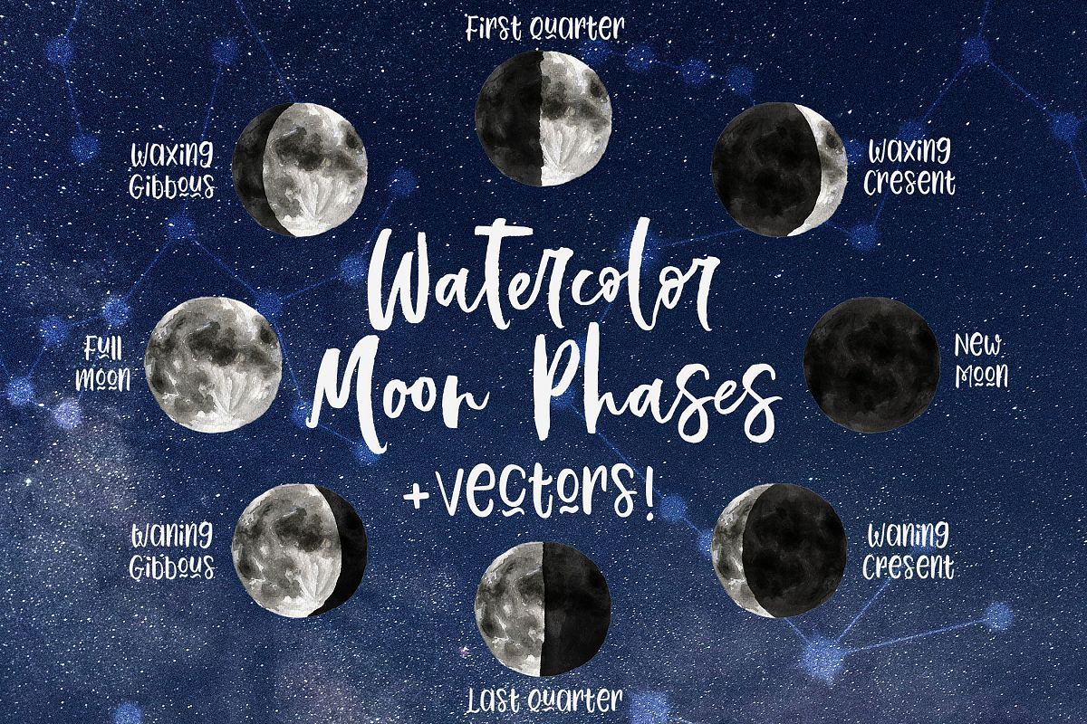 Watercolor & Vector Moon Phases Clip Art