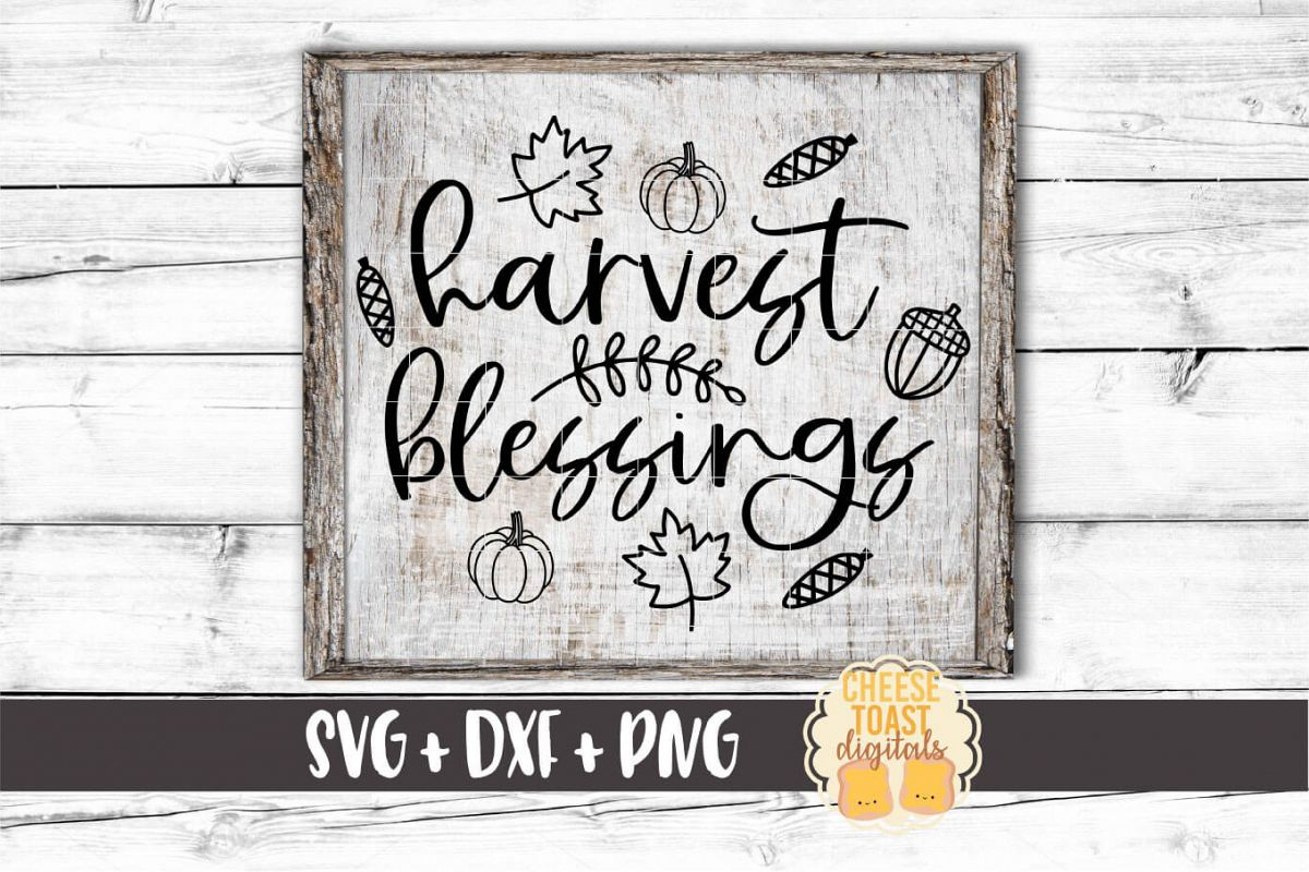 Harvest Blessings - Fall Sign SVG PNG DXF Cut Files example image 1