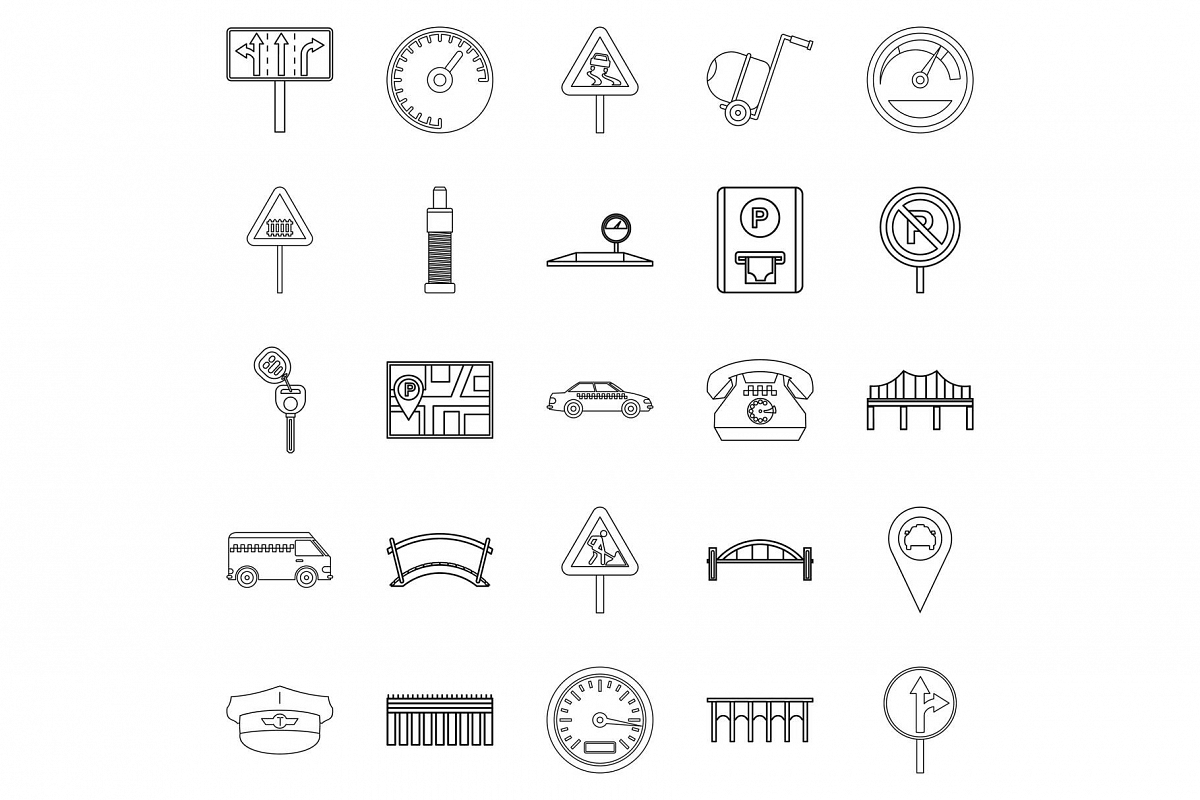 Pavement icons set, outline style example image 1