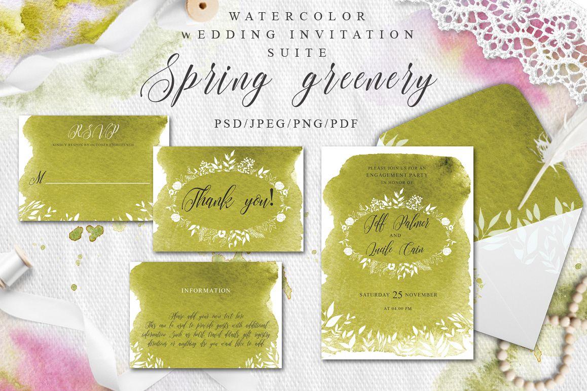 Greenery Watercolor Spring Wedding Invitation suite example image 1