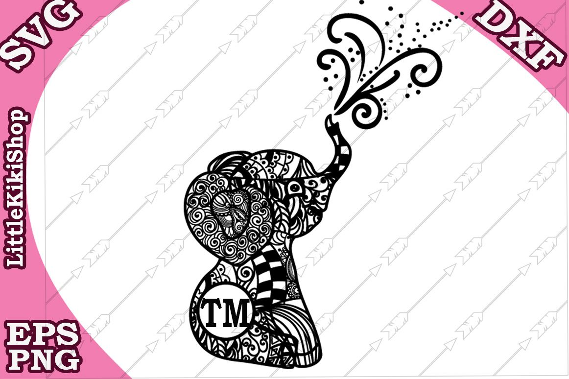 Baby Elephant Monogram Svg,Mandala Elephant Svg,Elephant Svg example image 1