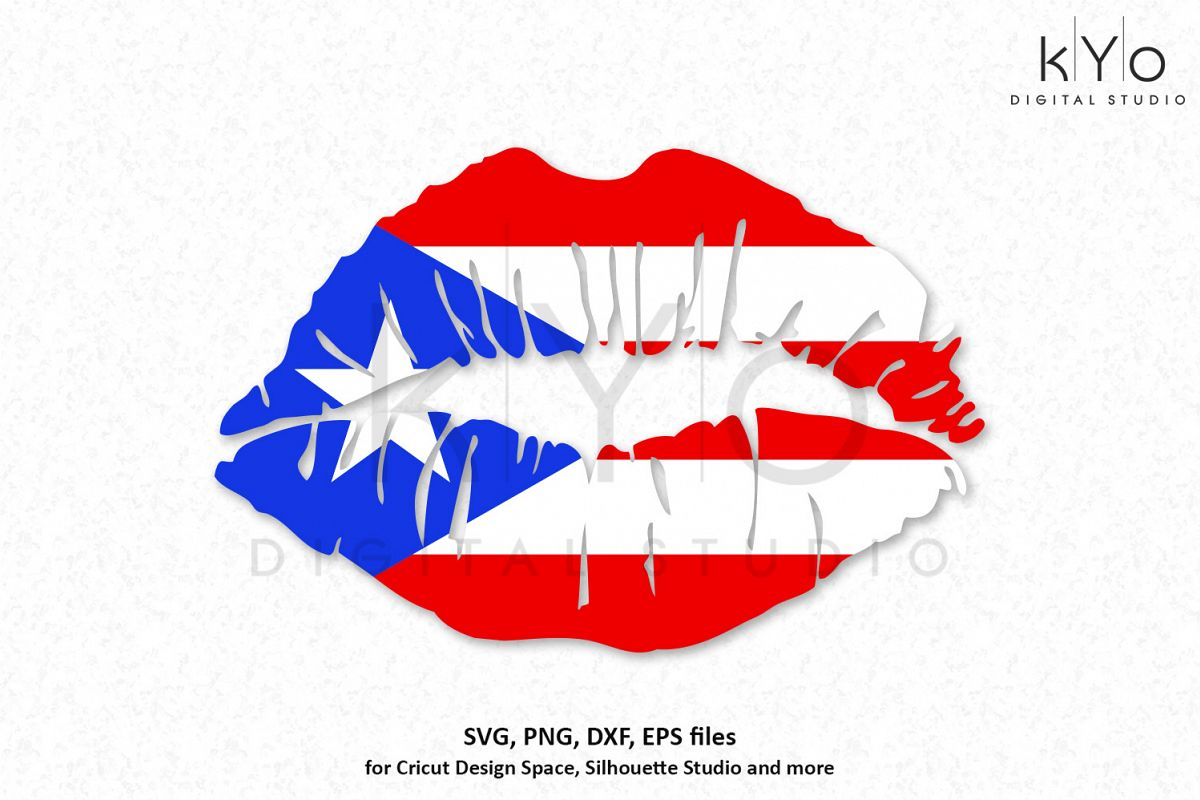 Puerto Rico Flag Girl Lips SVG PNG DXF EPS Files Example Image 1