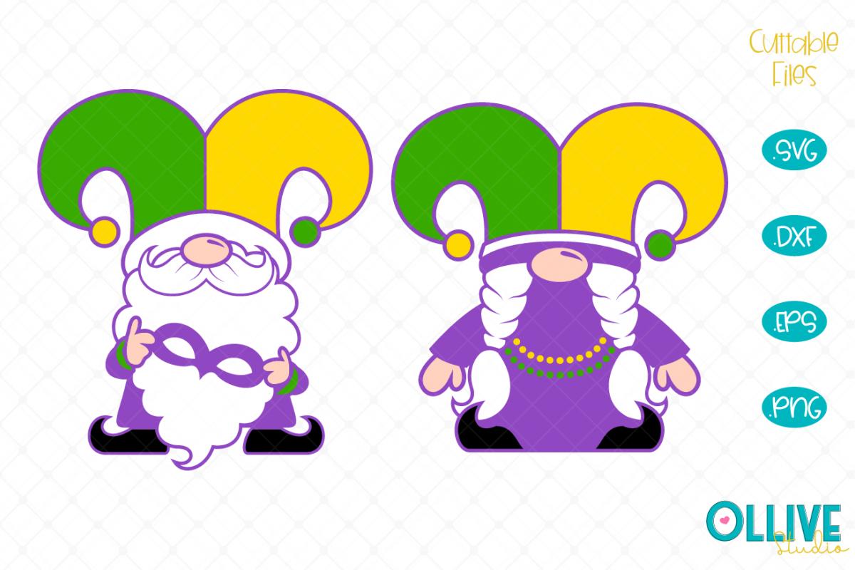 Gnomes Couple Mardi Gras SVG example image 1
