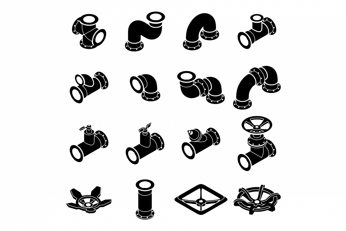 Pipeline constructor icons set, isometric style example image 1