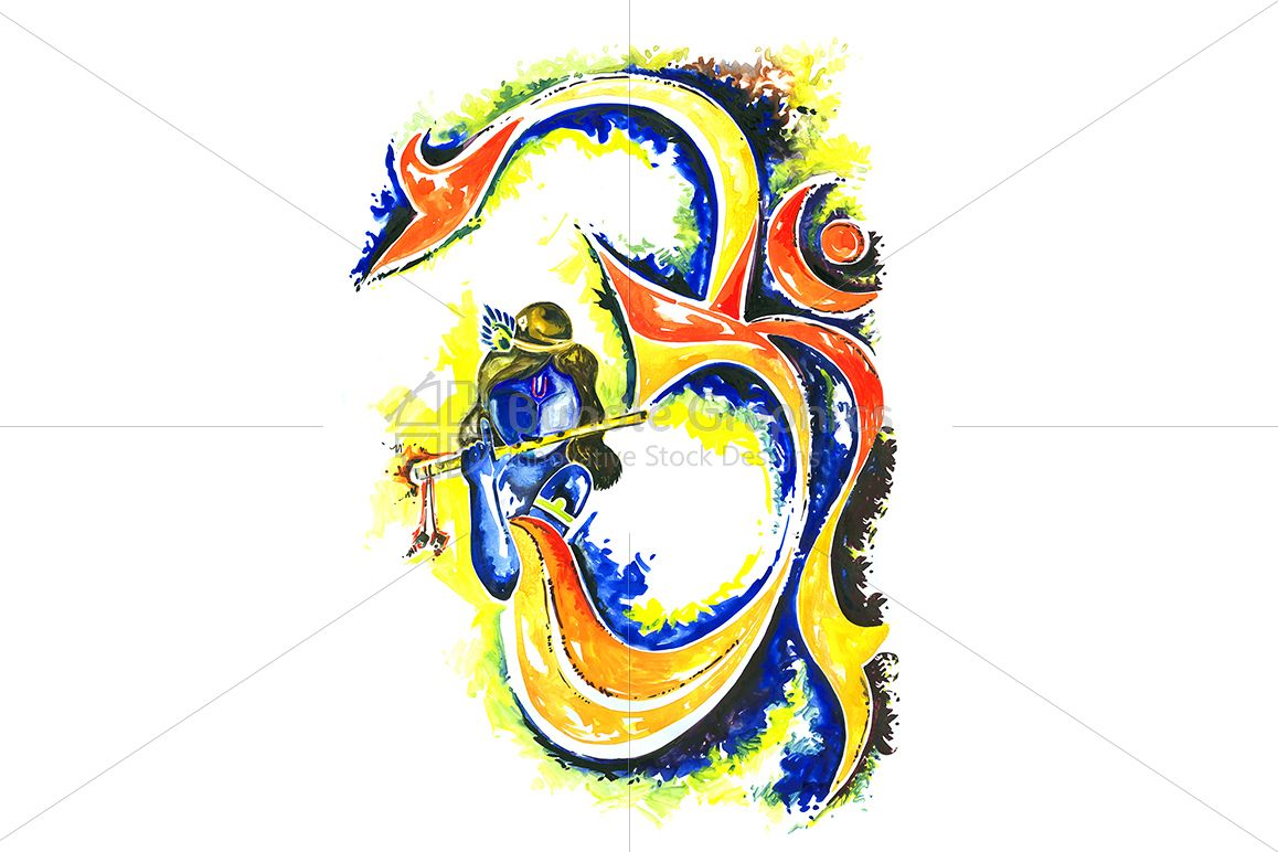 Lord Krishna With Om Symbol Abstract Composition