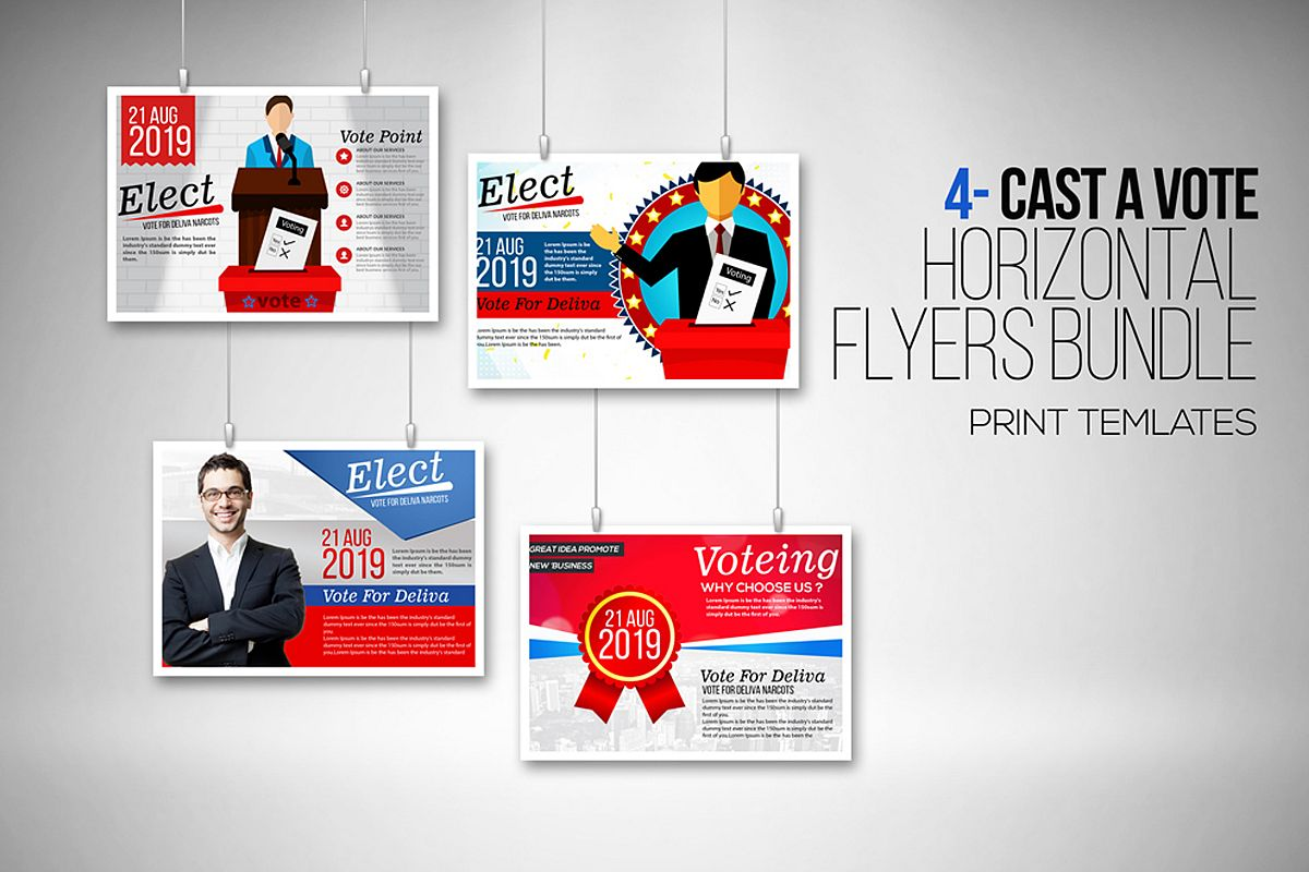4 Election Voting Flyers Bundle example image 1