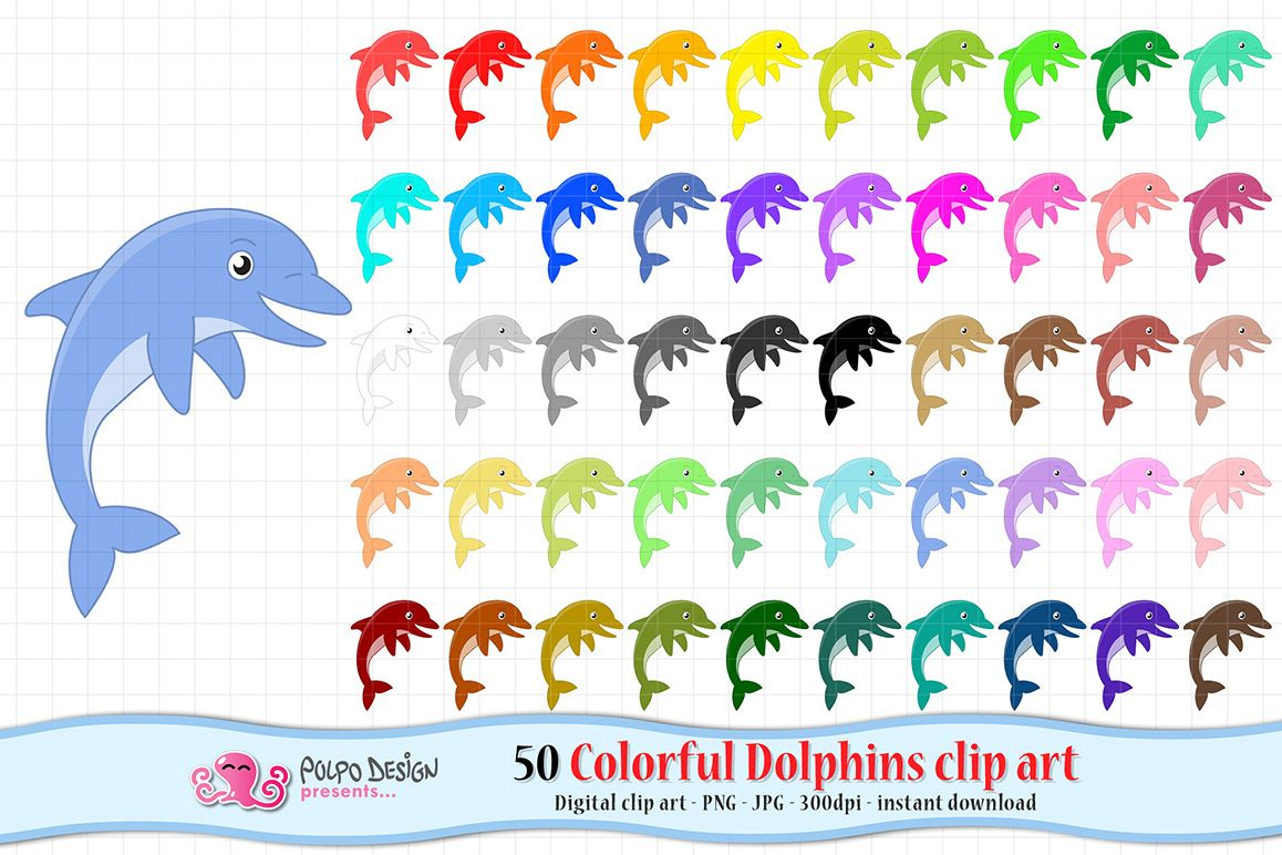 Colorful Dolphins clip art example image 1