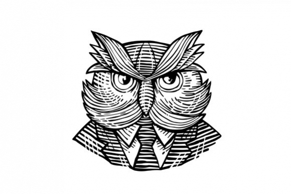 Hip Wise Owl Suit Woodcut example image 1