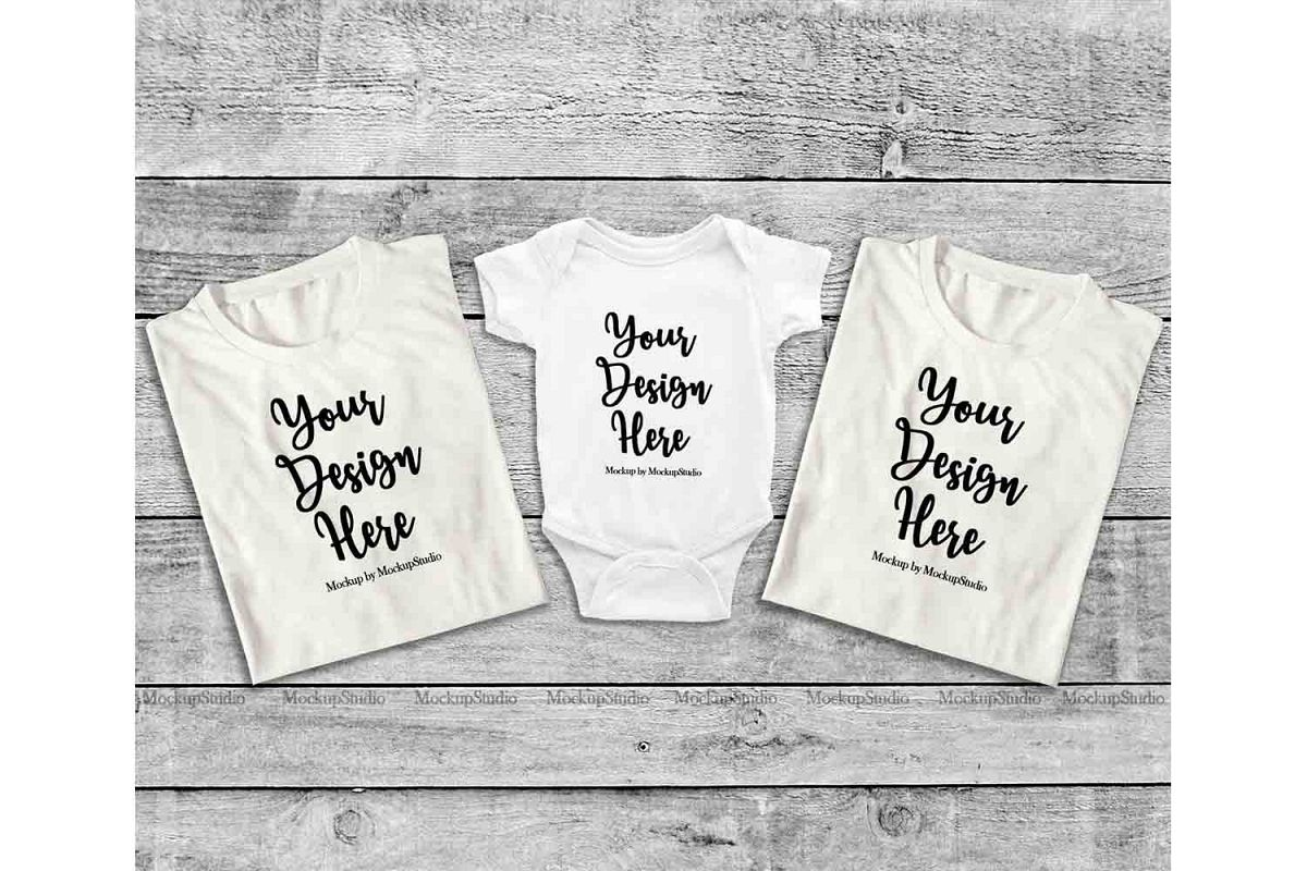 Family White Folded Tshirt Mock Up, Baby Bodysuit Mockup example image 1