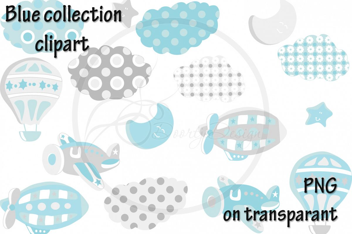 Digital Hot Air Balloon Blue Clipart, Air Plane Clipart, Zeppelin Clipart, Clouds, Moon, Stars example image 1