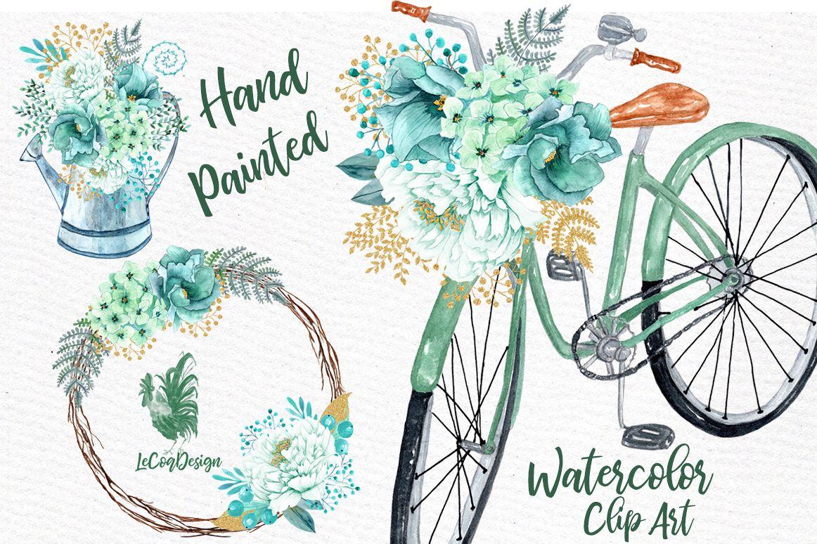 Mint Watercolor Flowers Watercolor Clip Art Spring Flowers