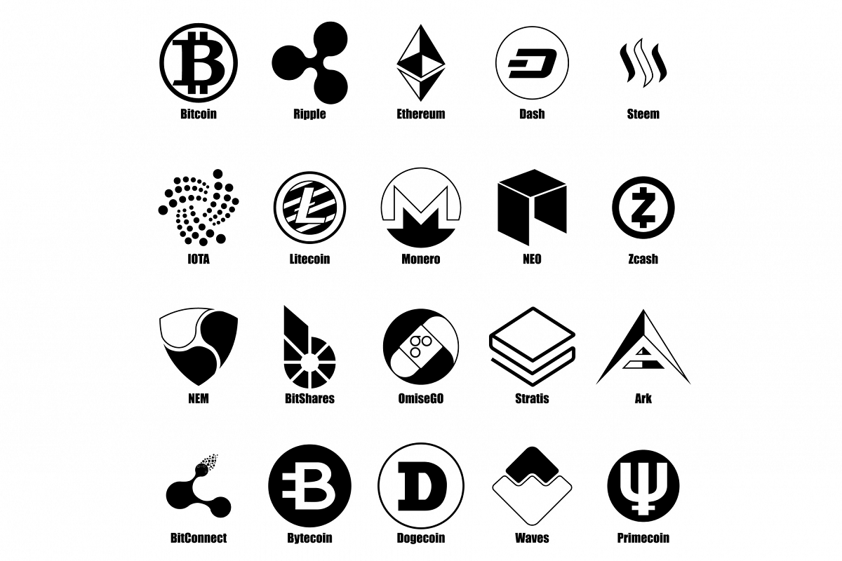 Cryptocurrency types icons set, simple style example image 1