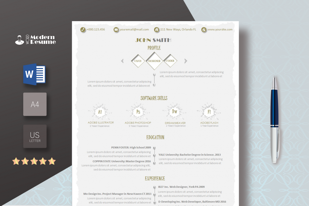 Your 2018 Resume Template Update Resume Cv Template 1 Page Clean