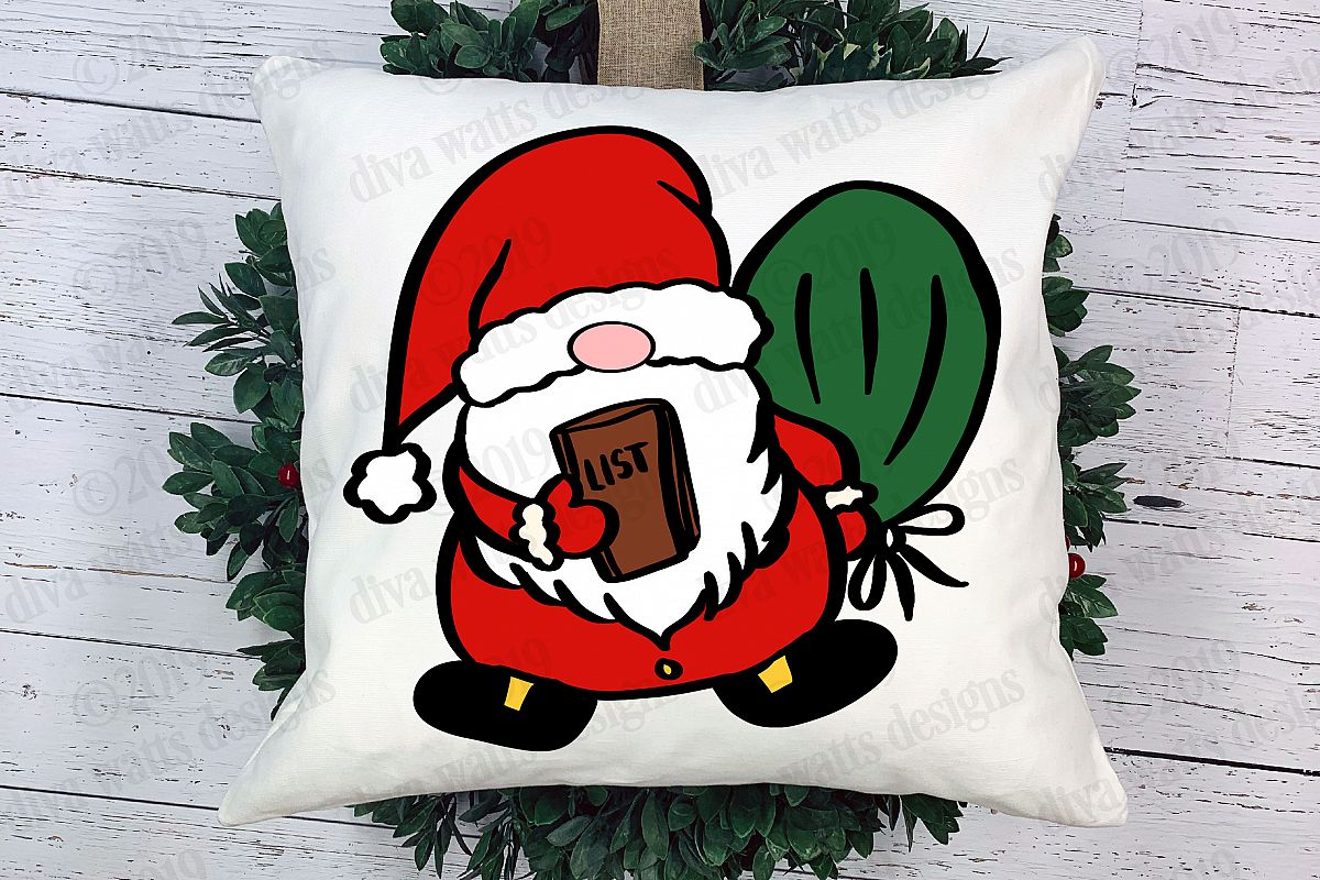 Santa Claus Christmas Gnome Cutting File with List example image 1