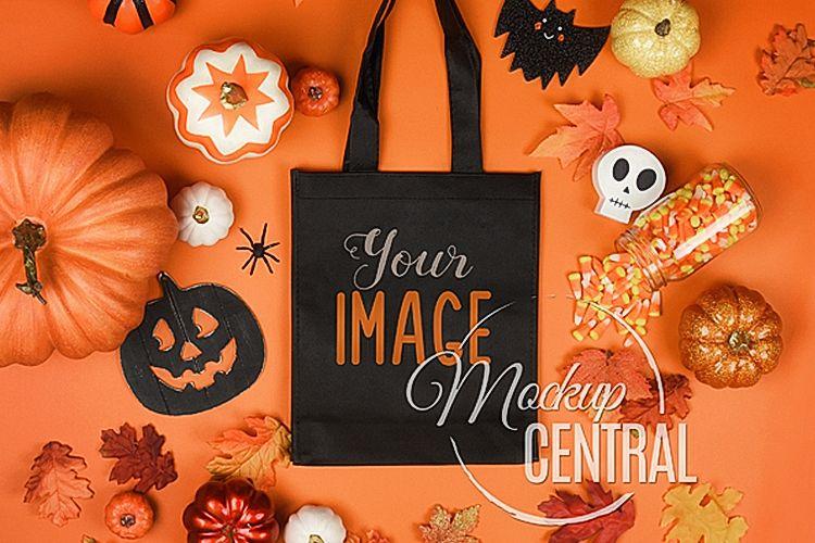 Black Halloween Tote Bag Mockup JPG, Flatlay Photo example image 1