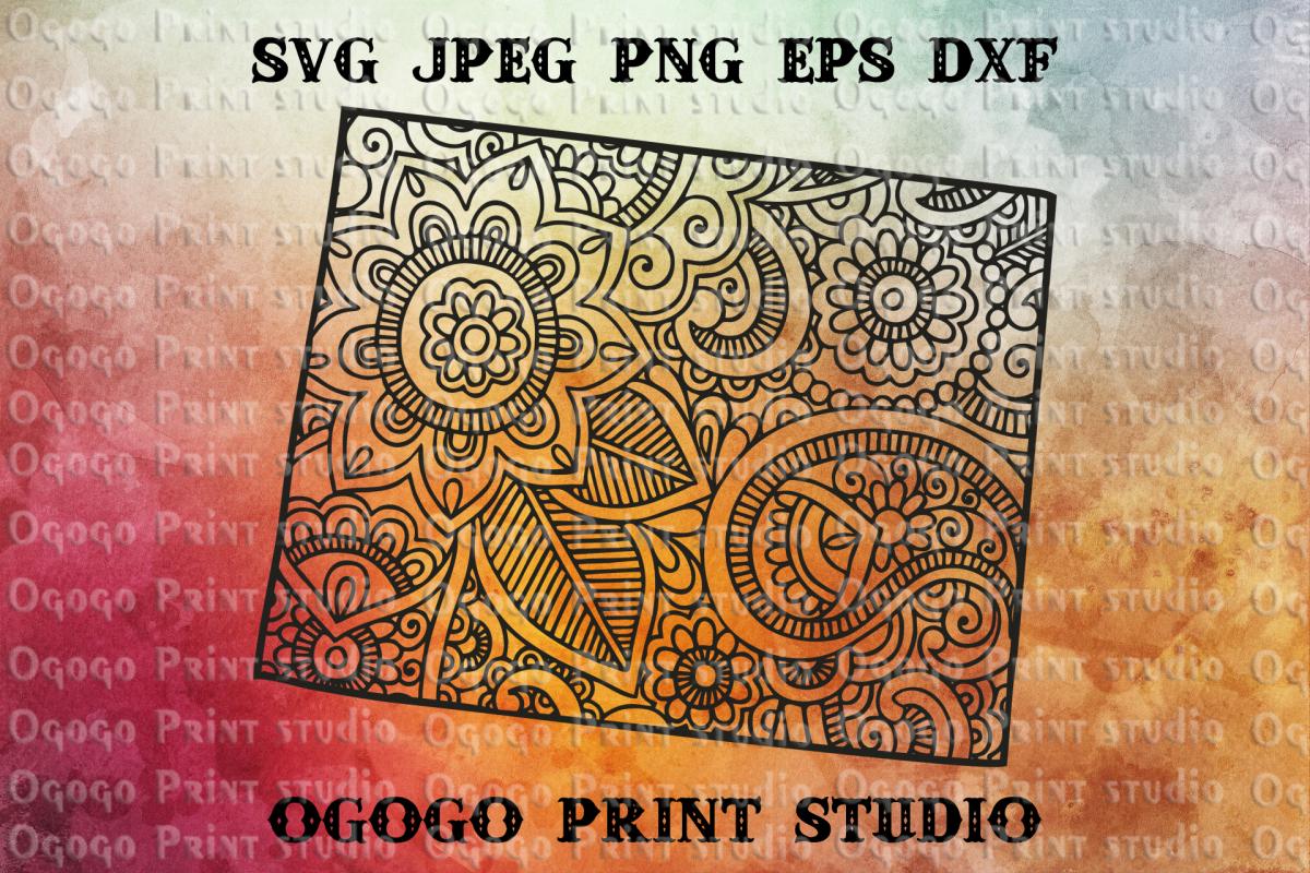 Wyoming SVG, Map Zentangle SVG, Mandala svg, Travel example image 1