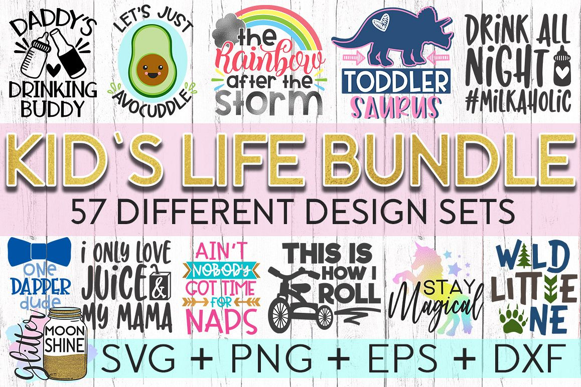 Kid's Life Bundle Of 57 SVG DXF PNG EPS Cutting Files example image 1
