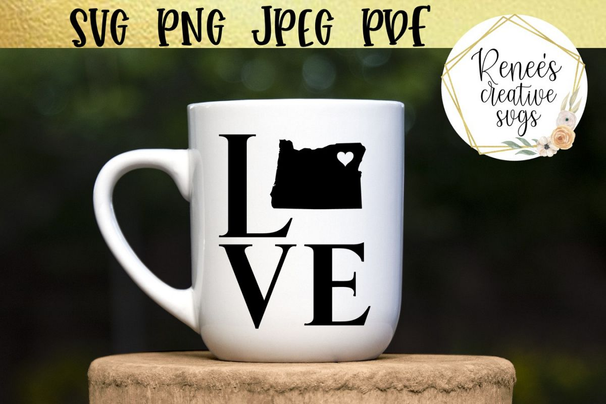 Oregon love with heart | State SVG | SVG Cutting file example image 1