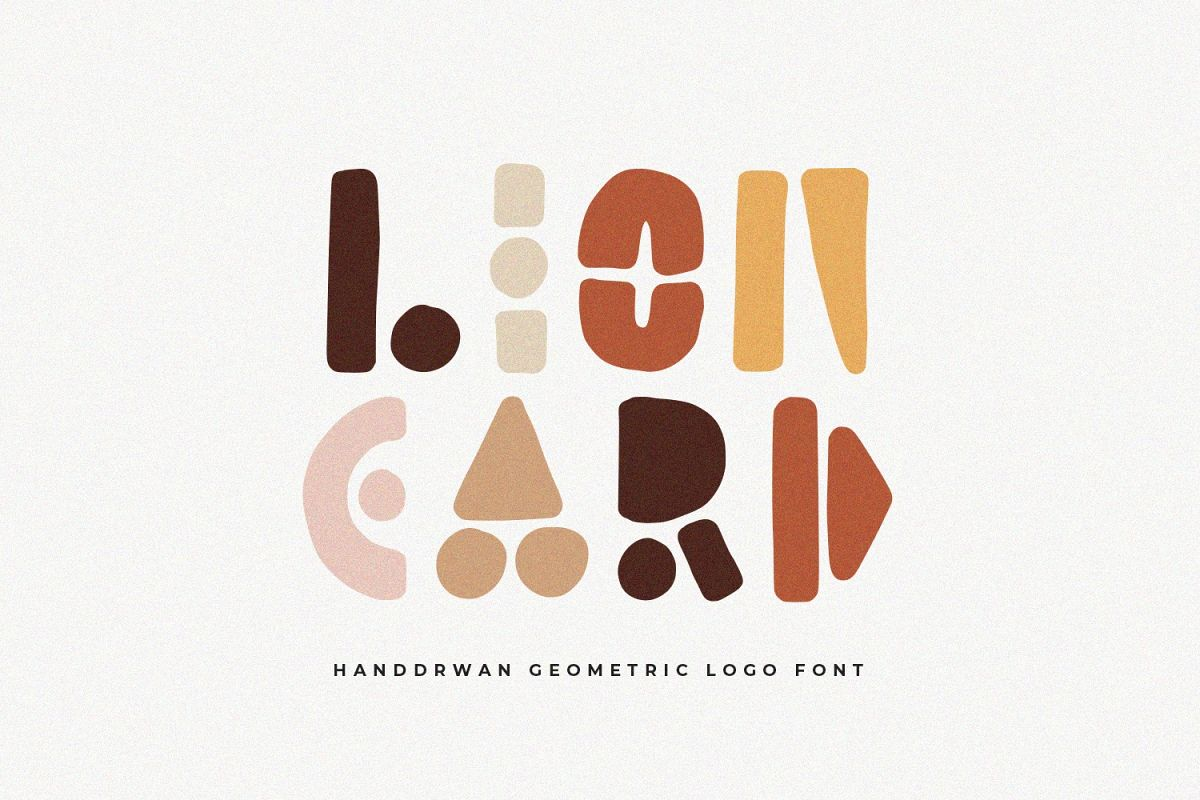 Lion Card | Handmade Geometric Font example image 1