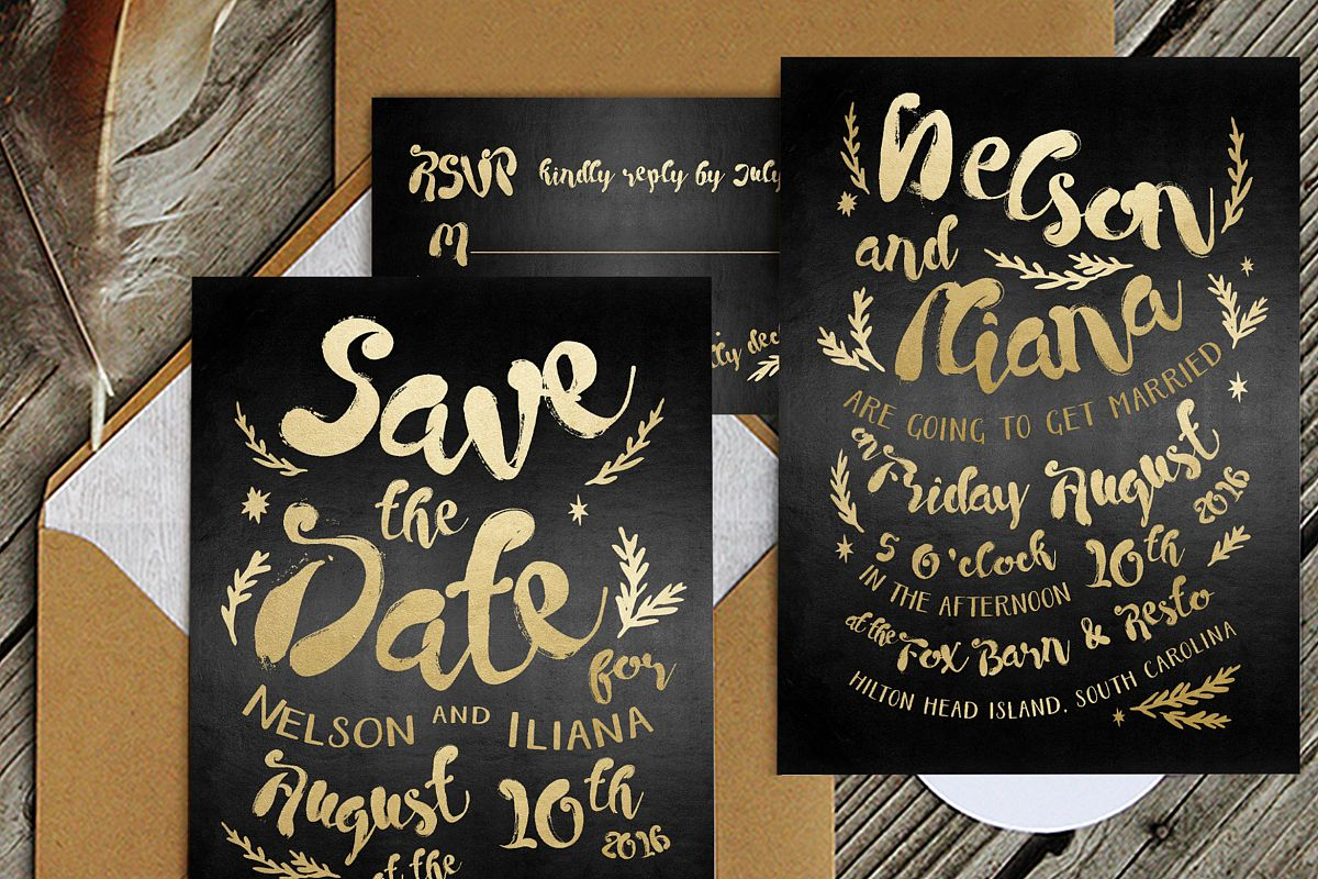 Black & Gold Hipster Wedding Invitation Suite example image 1
