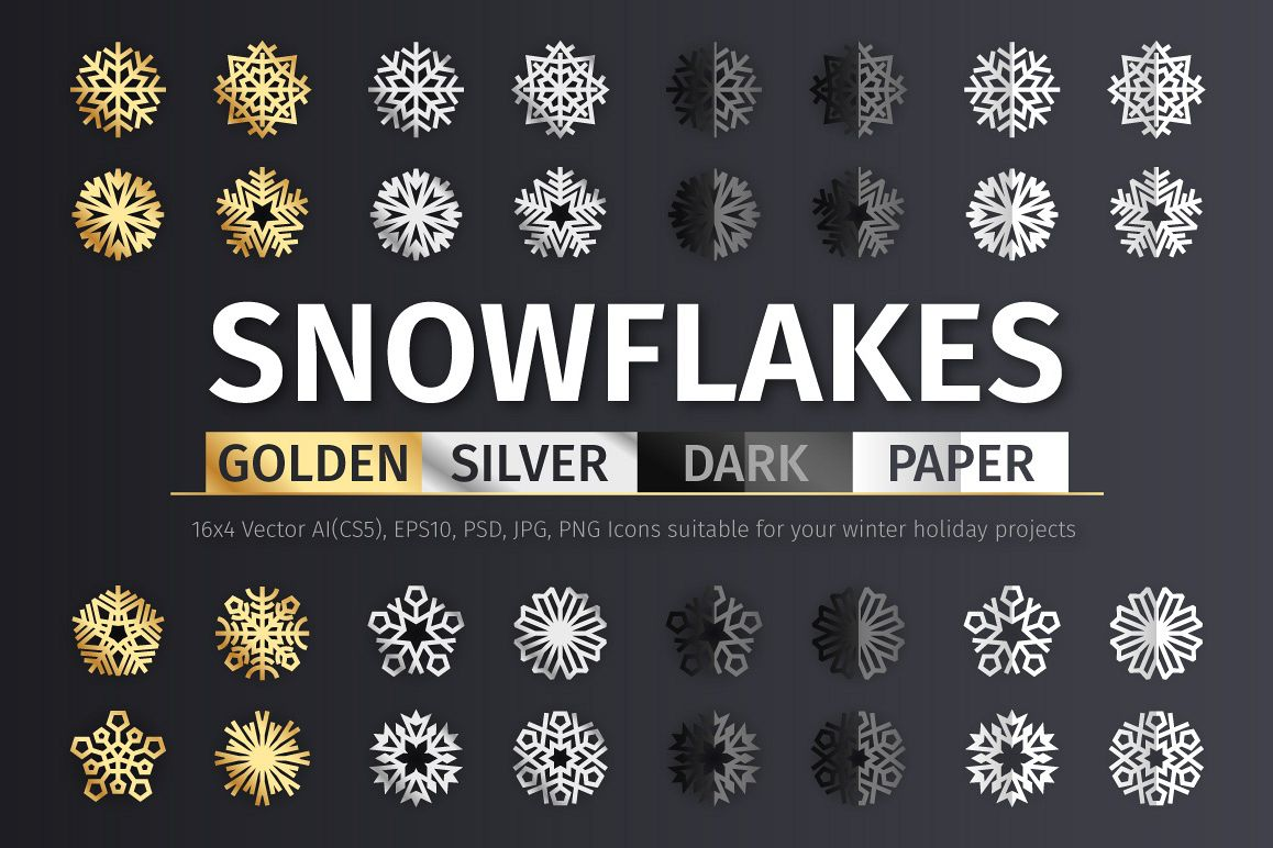 Golden And Silver Snowflake Icons By Vo Design Bundles